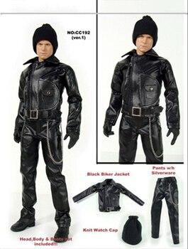 1/6 czarny skórzany motocykl płaszcz spodnie pas zestaw kapeluszy modele na 12-figurowe Figures organy akcesoria