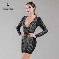Missord 2016 Sexy Long Sleeved Deep V Rhinestone Dress FT4936