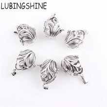 LUBINGSHINE New Antique Silver Charms Pendants DIY Jewelry Photo Hollow Locket Necklace Pendant Valentine's Gift 2.5*1.4cm
