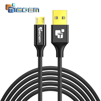 TIEGEM Micro USB Cable 1m 2m 3m Fast Charger Data Cable Braided Cable Mobile Phone USB Charger Cable For Samsung HTC Huawei