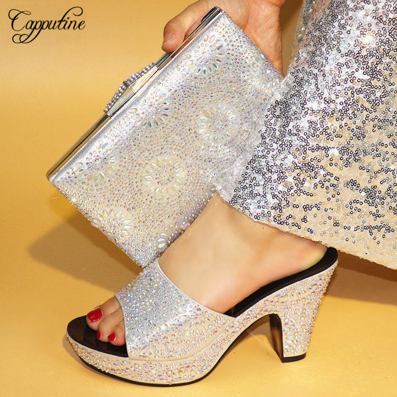 Capputine 2018 High Quality Elegant Rhinestone Silver Shoes And Bags Set African Style High Heels Shoes And Bag Set For Wedding