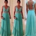 Venda quente vestido de casamento ornamentado longo ver através Beads verde hortelã A linha Chiffon vestido de dama de honra