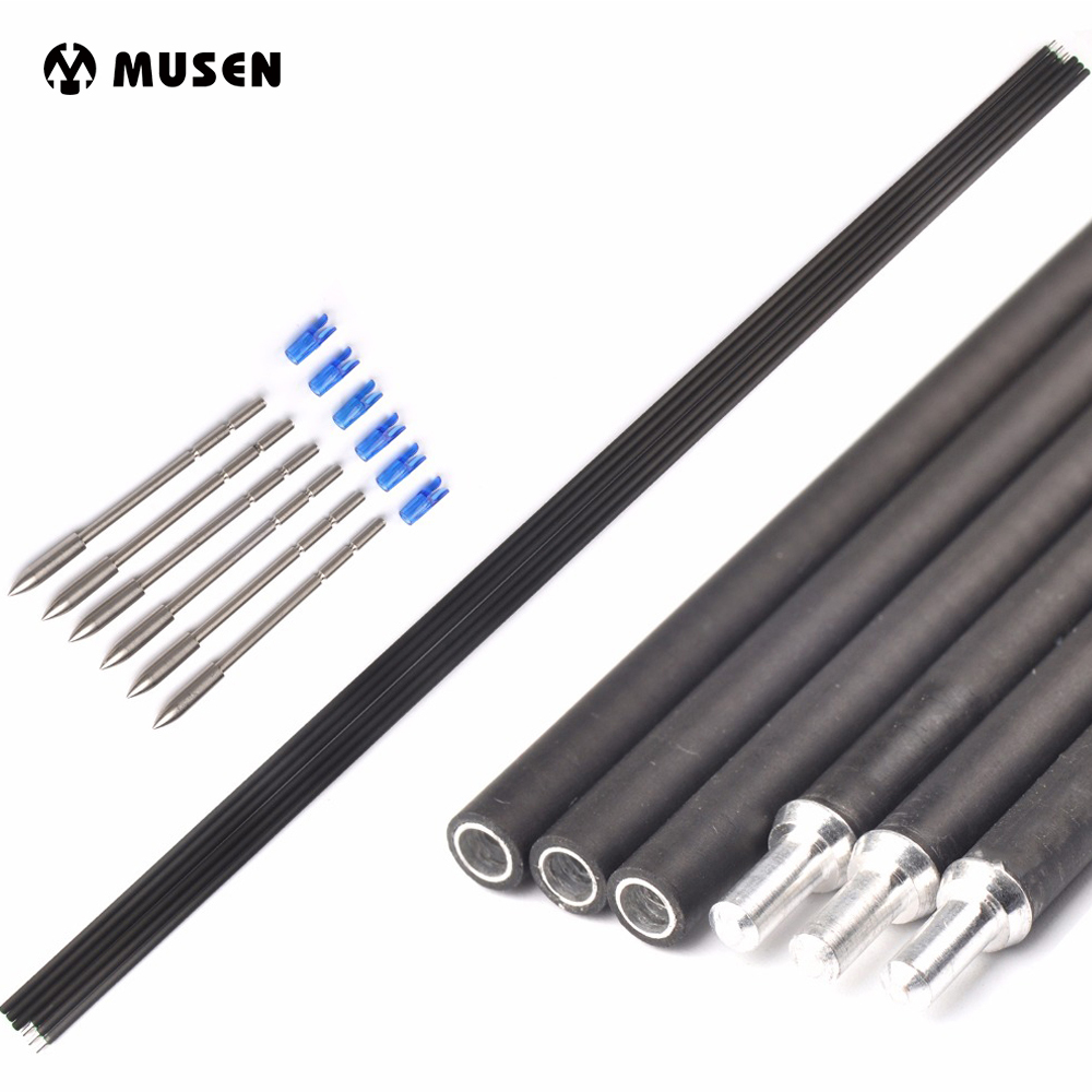 6/12Pcs 32 Inches X10 Carbon And Aluminum Hybrid Set Arrow Spine 500 Outer Diameter 5.2mm Inner-type Tips For Archery Hunting