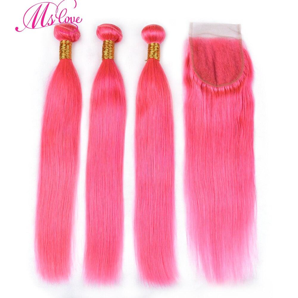Ms Love Pre Colored Pink Straight Hair Bundles With Closure 100 Human Hair Bundles With Closure