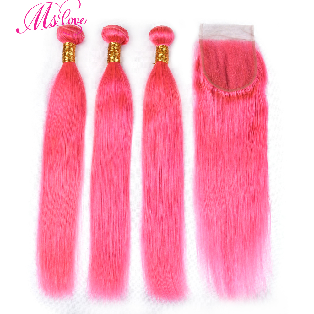 Ms Love Pre Colored Pink Straight Hair Bundles With Closure 100% Human Hair Bundles With Closure 4*4 Remy Human Hair Extensions