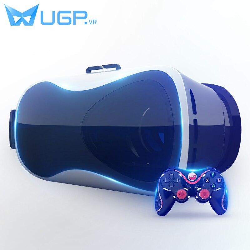 UGP V5 <font><b>VR</b></font> <font><b>Google</b></font> <font><b>Cardboard</b></font> <font><b>Virtual</b></font> Reality 3D <font><b>Glasses</b></font> Immersive <font><b>Head-mounted</b></font> With Bluetooth Gamepad For 3.5-6.0 Inch Smartphones