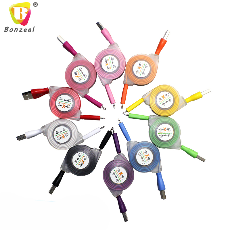 Colorful Retractable LED Light Micro USB Cable with Smile Face Sync Charging Cable Cord Wire For