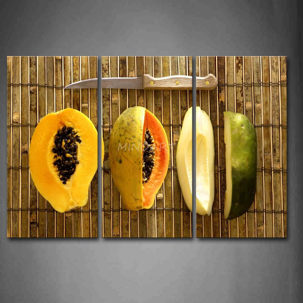 3 Piece Yellow Orange Wall Art Painting Some Papayas With font b Knife b font Picture