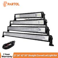Partol 3 Row 22 23 34 42 50 Straight Curved LED Light Bar 4x4 Offroad Led Bar Combo Beam Led Work Light Bar 12v 24v