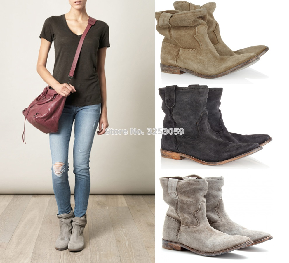 Designer Cowboy Retro British Style Women Boots Folded Over Chic Gladiator Boots Nude Grey Suede Flat Casual Motorcycle Boots