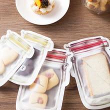 4pcs Reusable PE Food Storage Bags BEST for Sandwich,  Snack, Lunch, Fruit, Freezer Airtight Seal Kitchen Random Color