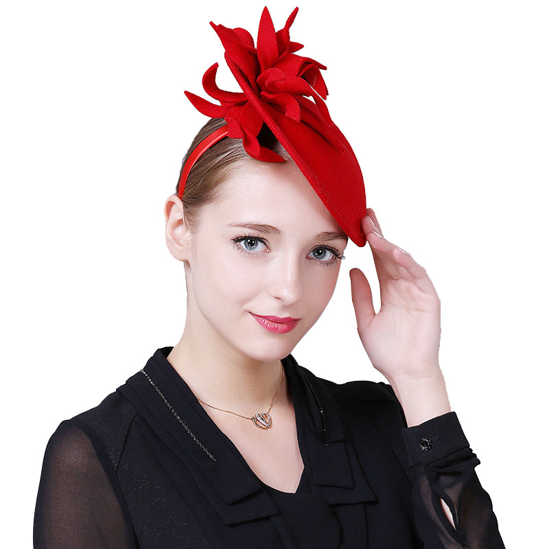quality products buy cheap where to buy Fascinator Wool Felt Hat Women Red Pillbox Hats Black Ladies ...
