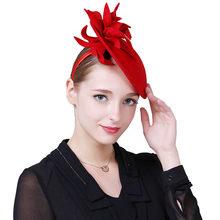 bd3d89c615d3c8 Fascinator Wollfilz Hut Frauen Rot Pillbox Hüte Schwarz Damen Vintage-Mode  Hochzeit Derby Fedora Chapeau