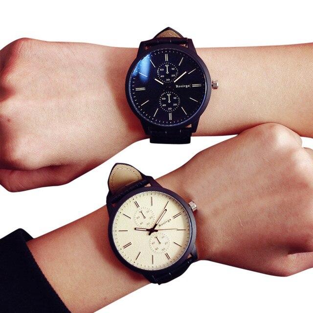2017 Fashion Watch Men Women Big Dial Watches Lovers' Leather Quartz Watch Casua