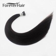 """Волос навсегда 0.8 г/локон 20 """"Remy Наконечники I человека Наращивание волос натуральный черный # 1B человеческих Fusion Придерживайтесь Предварительно Таможенный наращивание волос"""