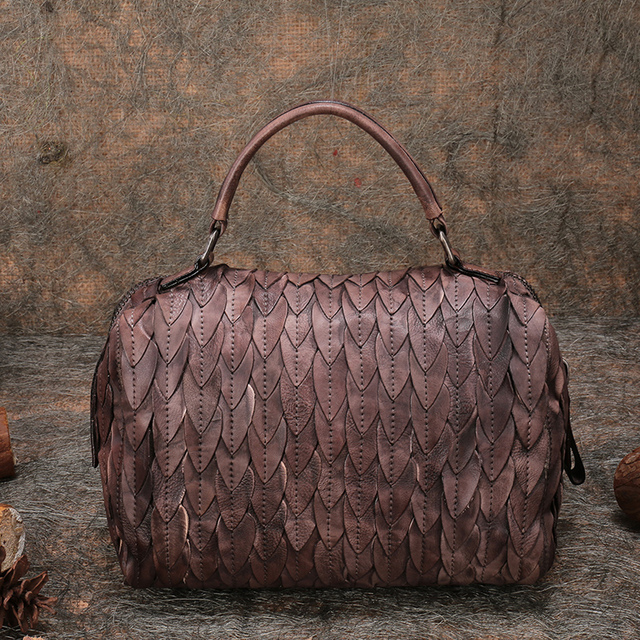 Original Design Genuine Leather Vintage Women Handbag High Quality Shoulder Bag Big Capacity Casual Messenger Bag Pillow