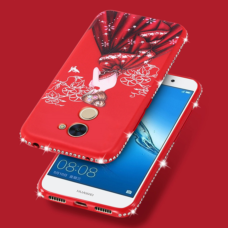 Rhinestone Silicone Case For Huawei Y7 Prime Honor 9 Lite 8 Pro 6C 7X V10 Diamond Beauty Woman Skirt Patterned Cases Back Cover