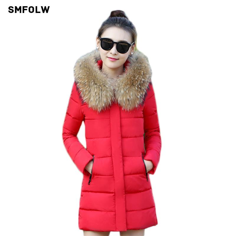 Winter Jacket Women 2017 New High quality Imitation raccoon fur collar Warm Woman Parka Outerwear Down jacket Winter Coat Women цены онлайн