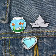 Panas!!! Akuarium Perahu Jantung Bros Pin Jaket Denim Kerah Ransel Lencana Perhiasan(China)