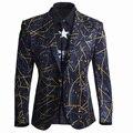 Diseño único Europeo hombres Moda Impreso Traje de Hombre de Negocios Delgado Traje Blazers De Algodón Superior Informal