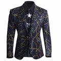 Unique Design European Men's Fashion Printed Suit Business Man Slim Suit Top Cotton Casual Blazers