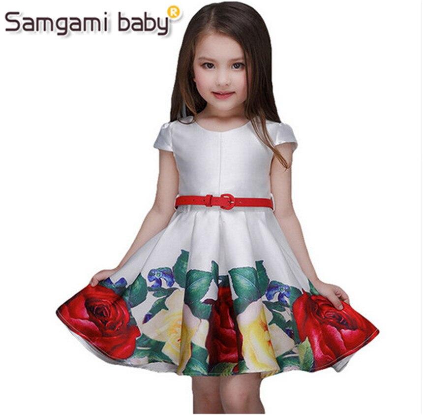 SAMGAMI BABY 2018 Nové Roztomilé Dívky Formální Módní Šaty Letní Party Narozeniny Květinové Dívky Šaty Děti Party Šaty Vytisknout