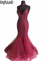 XingPuLanEr Mermaid Charming Spaghetti Strap V Neck Low Back Lace Appliques Beaded Sequins Luxury Burgundy Long