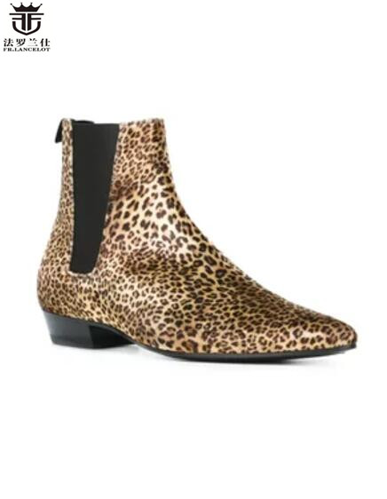 2018 FR.LANCELOT Luxury brand leopard print boots genuine leather chelsea boots print ankle boots men new design fashion boots vintage emerald green backless flower girl dress with golden sequins knee length short baby 1 year birthday gowns with big bow