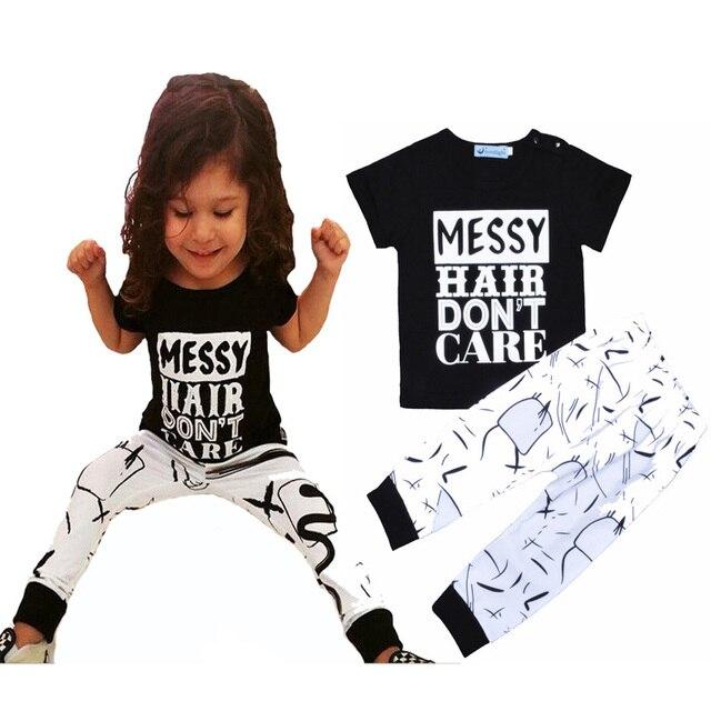 597d93edbd6 baby girls clothing set 2017 summer brand girls boys baby clothing set  letter T shirt+Messy hair Harem pants toddle clothing set