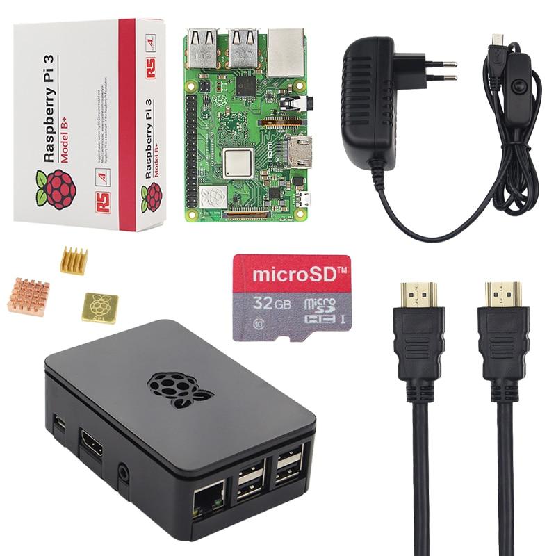 Nuevo Original UK Raspberry Pi 3 Modelo B + Kit + carcasa + 16 tarjeta SD 32G + adaptador de corriente 3A + Cable HDMI + disipador de calor RPI 3 B Plus