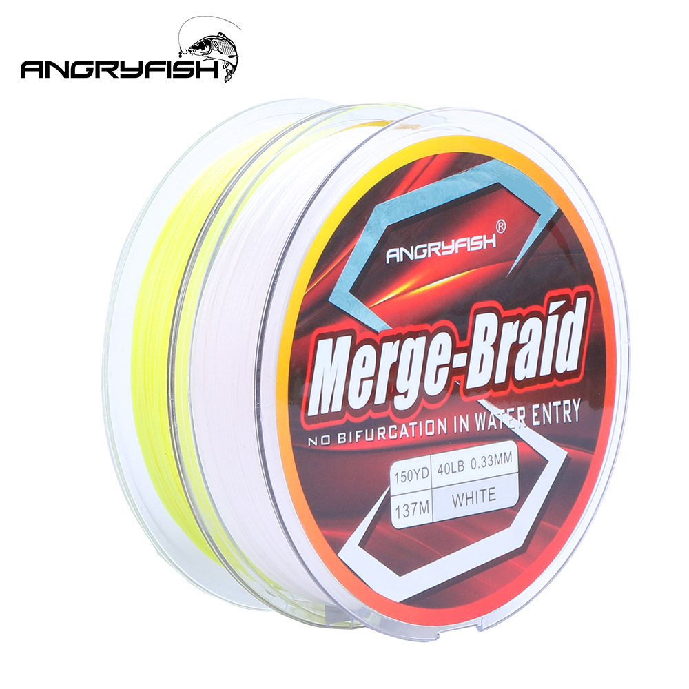 Angryfish 2020 New 150yd/137m Fishing Line PE Fire Pure Fluorocarbon Coated Merge-Braid 8 Strands Braided Fishing Line
