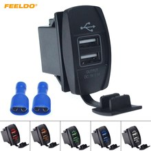FEELDO Car 12V-24V 3.1A Dual USB Socket Charger Power Adapter Truck ATV Boat USB Cigarette Lighter Adapter Outlet 2 Ports(China)