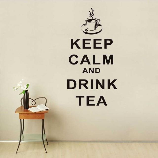 Tetap tenang dan minum teh cangkir removable vinyl dinding decal dinding stiker baru ruang tamu rumah