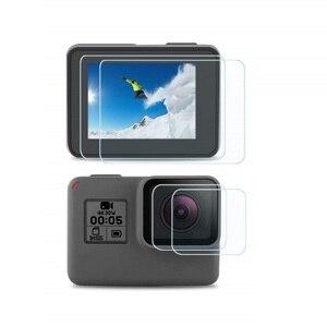 Image 4 - VSKEY 100PCS מזג זכוכית עבור GoPro גיבור 7 6 5 מצלמה LCD מסך מגן + עדשת כובע מגן סרט עבור גיבור 5/6/7