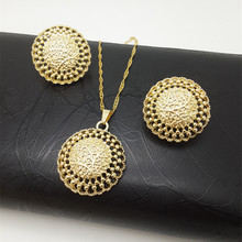 ZuoDi Jewelry Big Hoop Women's Jewelry Sets Earrings Pendant Copper Gold Color Ball Vehicle Wheel For Party Daily Wear Gift