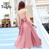 Tingfly Boho Blackless v neckline straps midi dress women Chic Hight waist loose long dress femme 2018 Summer beach dress