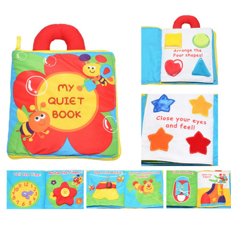 8pcs Soft Cloth Book Kids Baby Shapes Colors English Chinese Educational Toy