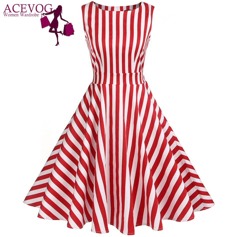 ACEVOG Vintage Swing Dress Women 1950S 60S Retro Garden Party Picnic Dresses Cocktail Tunic Rockabilly Vestidos Robe Plus Size