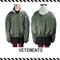 Best Version New Arrival 2016 Fall Winter VETEMENTS Long Sleeve Oversized Bomber Jacket In 'khaki' Green Men Women Cotton Coat