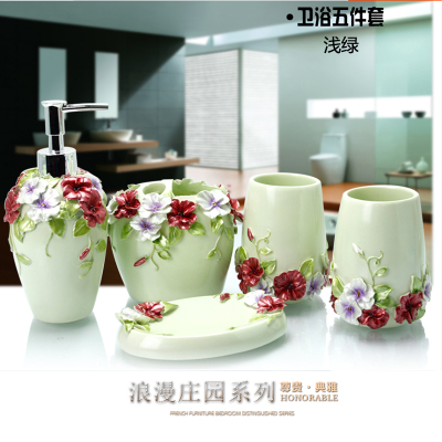 Charmant Beautiful Pearl Floral 5PCS Resin Bathroom Accessories Set Soap  Dispenser/Toothbrush Holder/Tumbler/Soap Dish Gold In Bathroom Accessories  Sets From Home ...