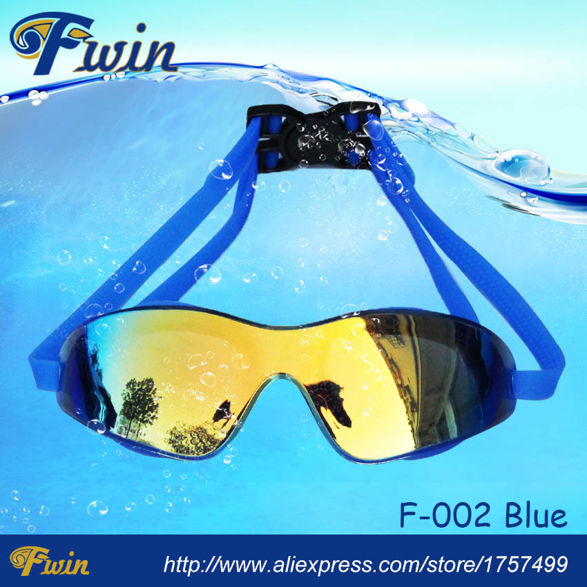 Top sale wide vision anti fog waterproof colorfull mirrored lens adult swimming goggles Free shippmment+1pairs silicone earplug
