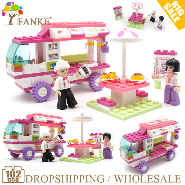 0155 102pcs Girl's Dream Food car Constructor Model Kit Blocks Compatible LEGO Bricks Toys for Boys Girls Children Modeling