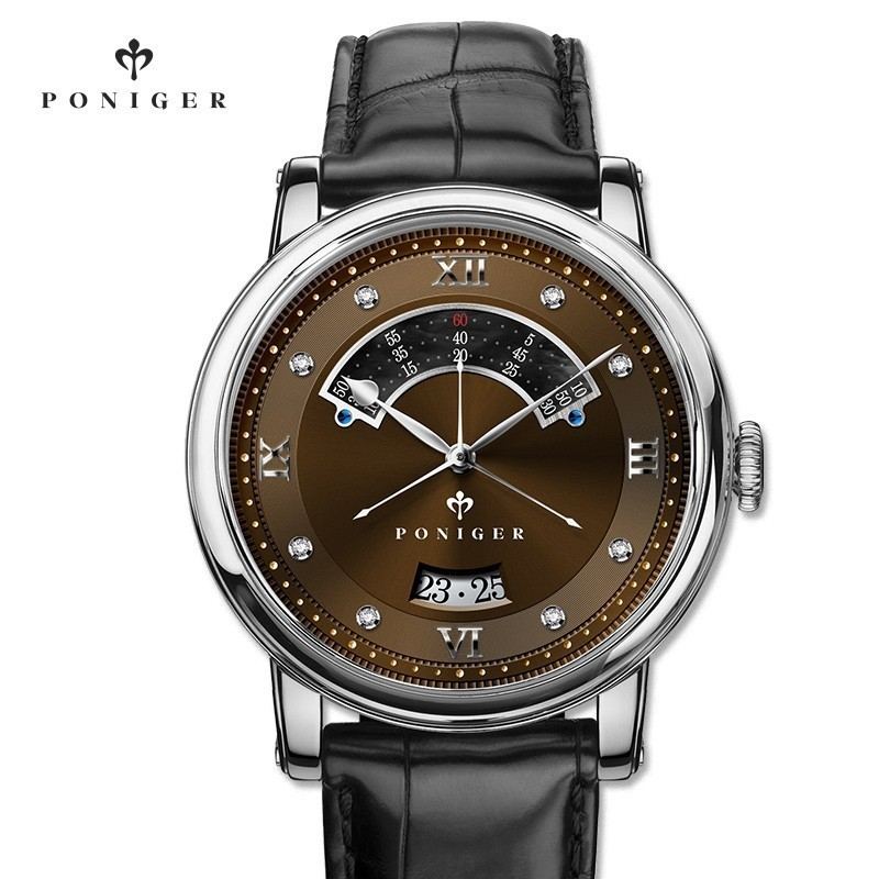 Switzerland Luxury Brand PONIGER Mens Watch Japan NH35A Automatic Mechanical MOVT Watches Men Double Dial Sapphire Clock P719-3Switzerland Luxury Brand PONIGER Mens Watch Japan NH35A Automatic Mechanical MOVT Watches Men Double Dial Sapphire Clock P719-3