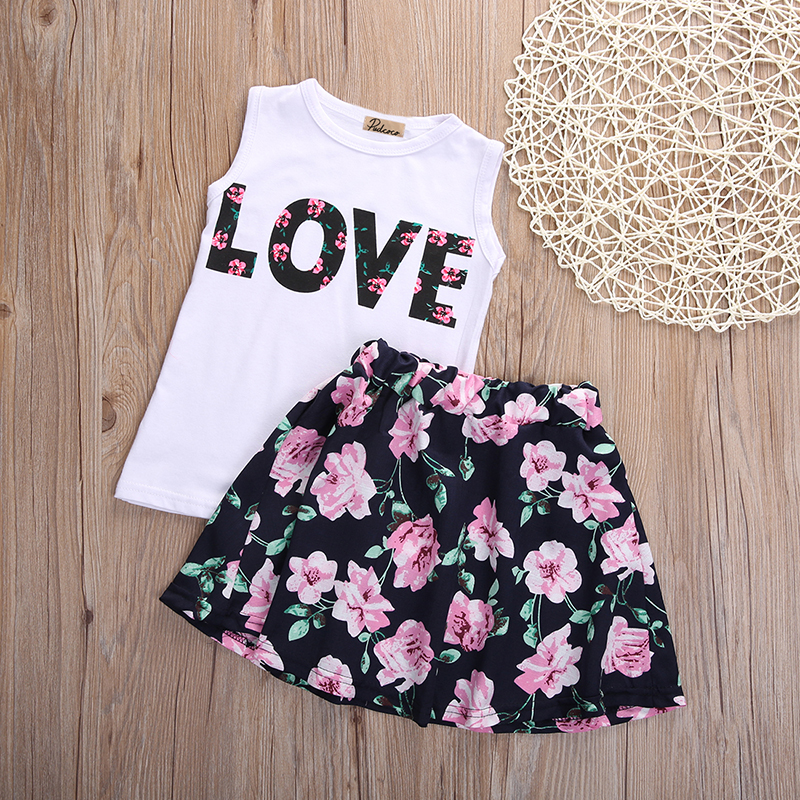 11f62464 2016 New Fashion Cute Baby Girls Clothes Set Summer Sleeveless T Shirt Top  and Floral Skirt 2PCS Little Girls Outfit Set-in Clothing Sets from Mother  & Kids ...