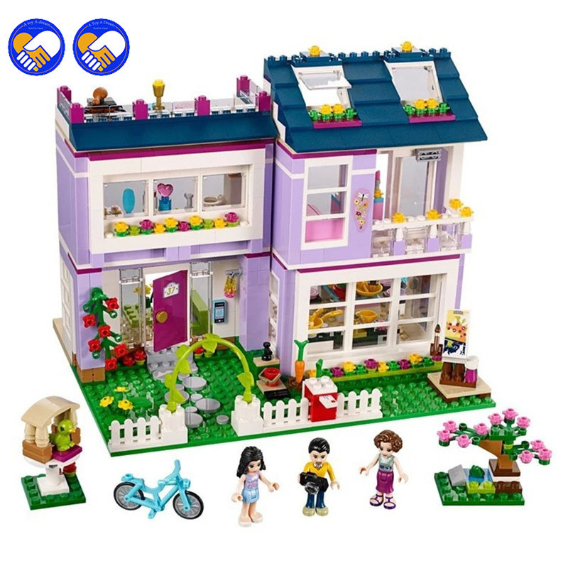 A toy A dream Bela 10541 Friends Emma's House Blocks Bricks Toys Girl Game Gift Compatible with Decool Lepin 41095 10162 friends city park cafe building blocks bricks toys girl game toys for children house gift compatible with lego gift