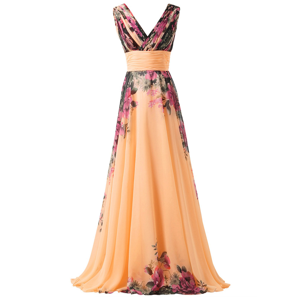 Robe femme profonde col en v motif fleur en mousseline de soie robe de bal de soirée robe de soirée GK femmes vêtements