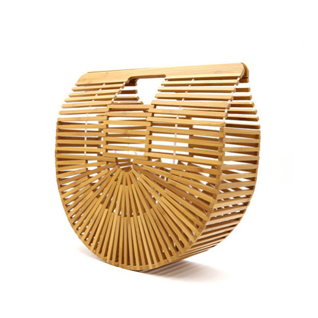 3 Colors Summer Half Round Handmade Hollow Bamboo Beach Environmental Circular Basket Bags Braided Countryside Rural HolidayTote