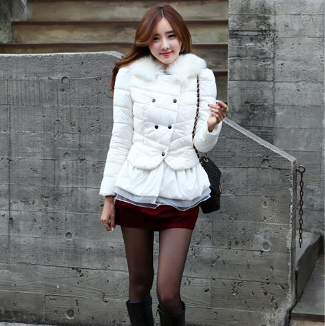 Фото 2013 new winter short thick warm skirt down padded coat ladies slim double breasted lace hem fur collar down overcoat H1662