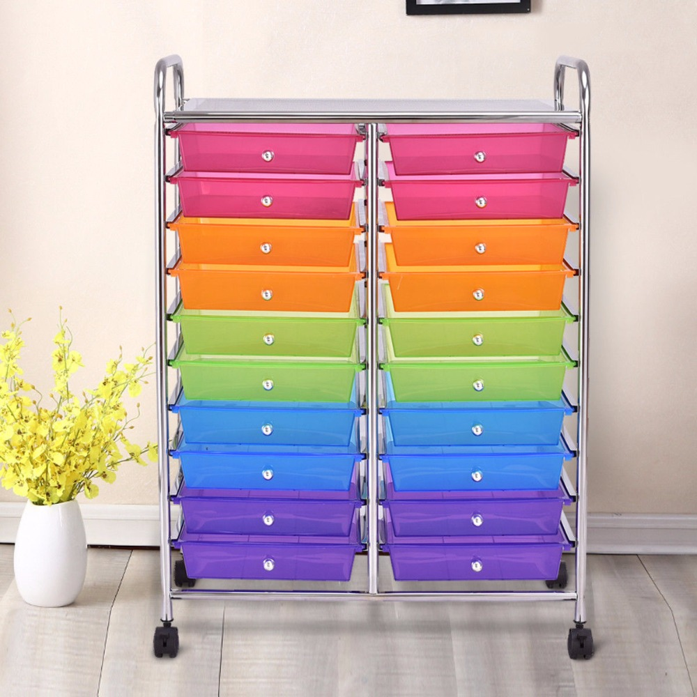 Giantex 20 Drawers Rolling Cart Storage Scrapbook Paper Studio Organizer Mutli Color Home Furniture HW56501