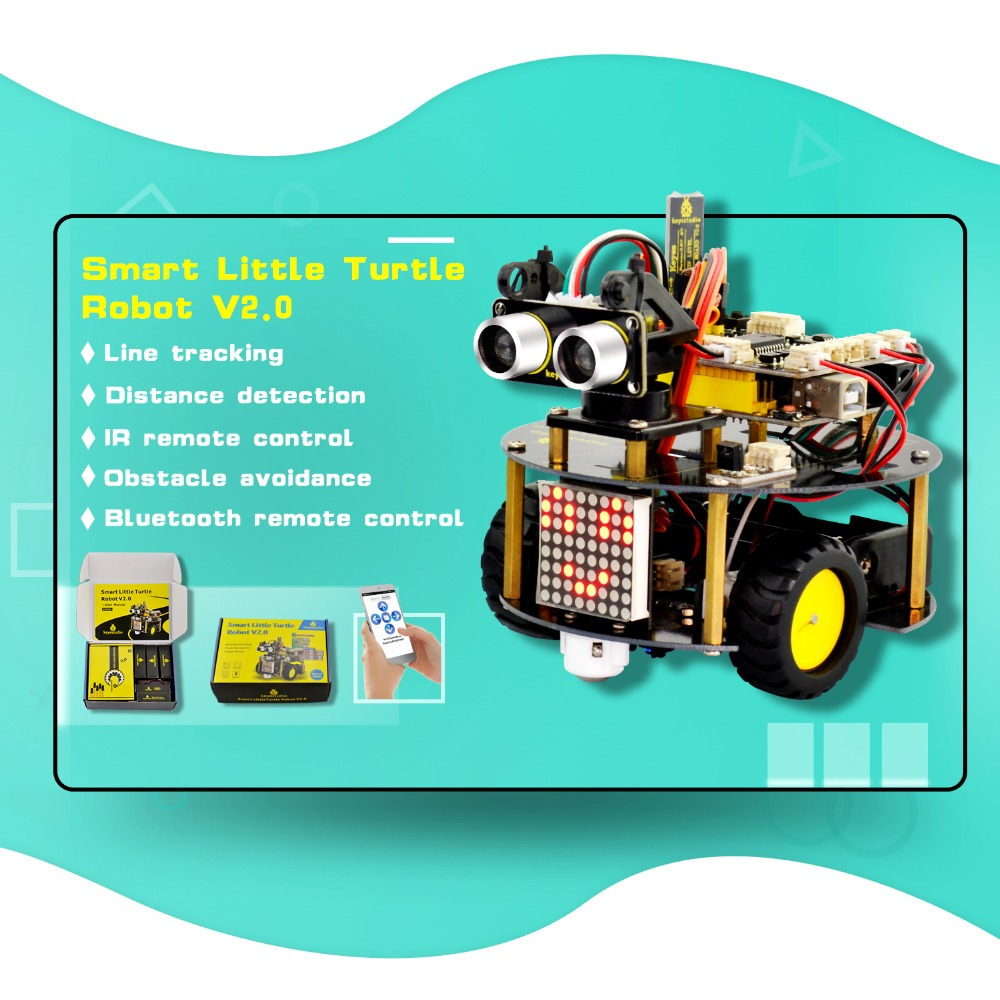 цена на NEW! keyestudio Smart Little Turtle Robot Car kit V2.0 W/Graphical Programming+User Manual (English) for Arduino Robot